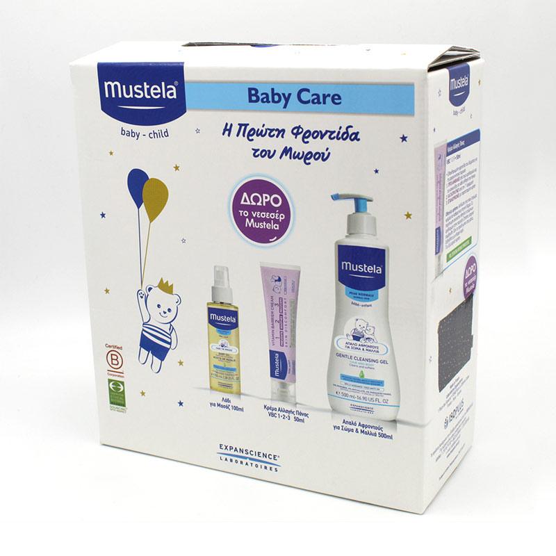MUSTELA Baby Care Set Η Πρώτη Φροντίδα Gentle Cleansing Gel 500ml + Λάδι για Μασάζ 100ml + Κρέμα Αλλαγής Πάνας VBC 50ml + ΔΩΡΟ Νεσεσέρ