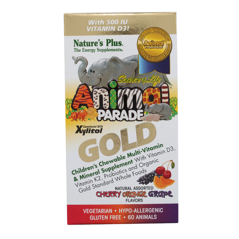 NATURES PLUS Animal Parade GOLD Assorted (κεράσι, πορτοκάλι, σταφύλι) 60chew.tabs