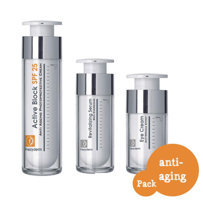 FREZYDERM  ΠΑΚΕΤΟ Anti Ageing Pack ACTIVE BLOCK SPF25 (50ml) +Revitalizing Serum 30ml+ Anti Wrinkle Eye Cream 15ml