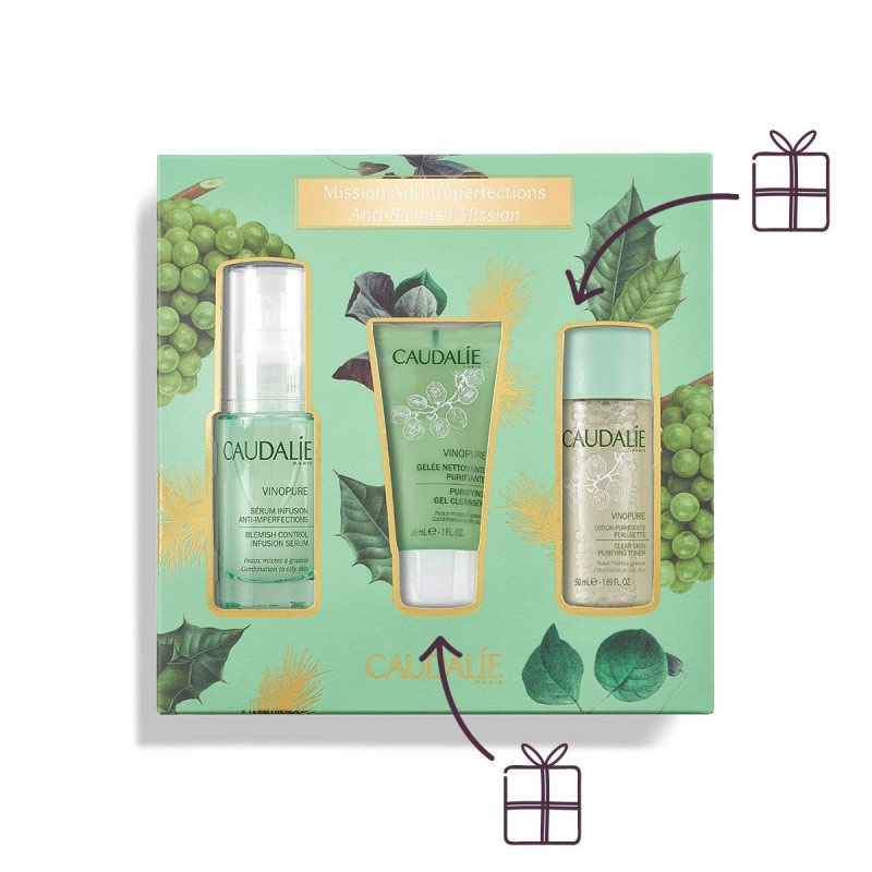Caudalie Promo Vinopure Blemish Control Infusion Serum 30ml & Purifying Gel Cleanser 30ml & Clear Skin Purifying Lotion 50ml