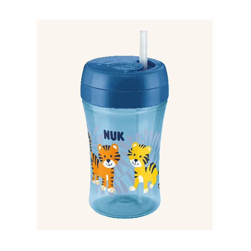 Nuk Easy Learning 1-2-3 Fun Cup 18m+ Εκπαιδευτικό Ποτηράκι με Καλαμάκι Μπλε/Τίγρεις 300ml