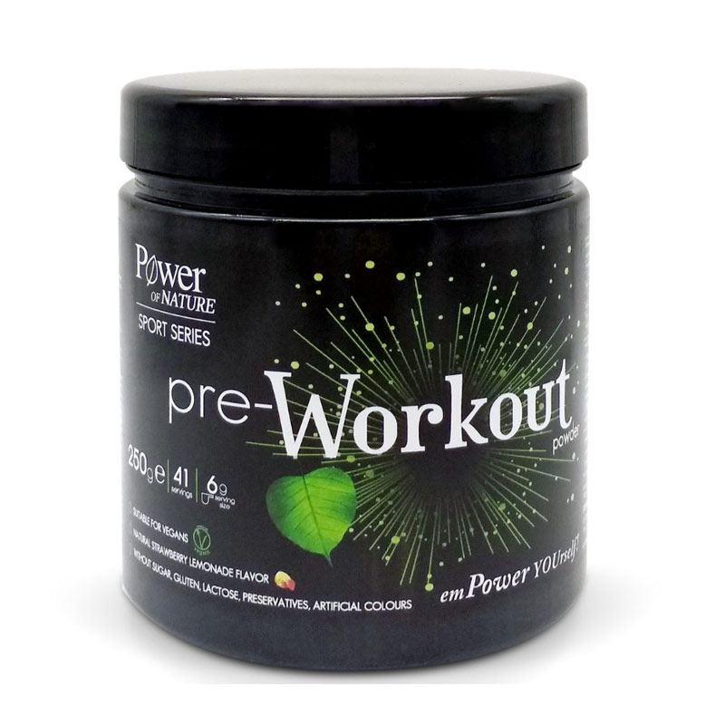 Power Health Power of Nature Sport Series Pre-Workout Powder Με φυσική γεύση φράουλα λεμόνι 250G