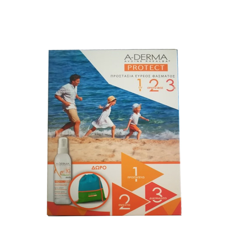 948936e697 A-Derma Promo Protect Kids Spray Enfant Tres Haute Protection SPF50+ 200ml    Δώρο Παιδική Τσάντα