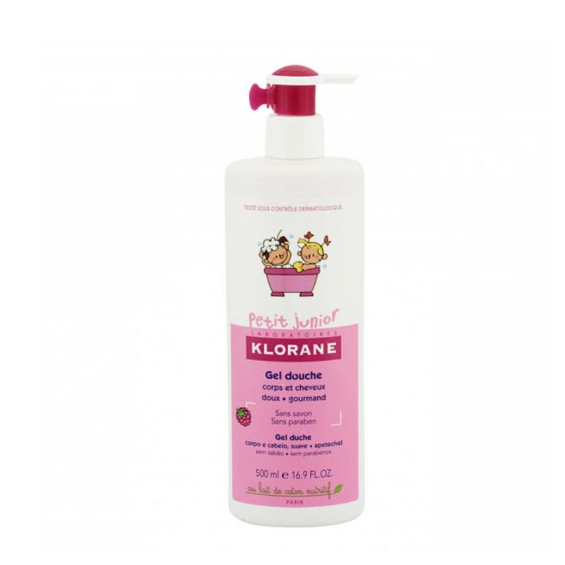 Klorane Petit Junior Shower Gel Sweet Raspberry Fragrance Σώμα & Μαλλιά 500 ml