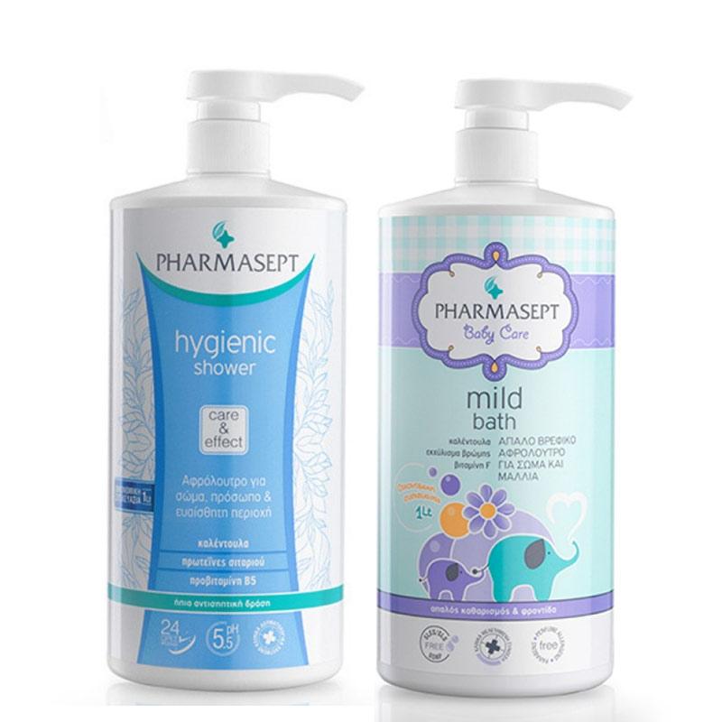 Pharmasept Set Baby Mild Bath 1lt & ΔΩΡΟ Hygienic Shower Αφρόλουτρο 1li