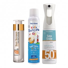 FREZYDERM ΠΑΚΕΤΟ SUNCARE με FREZYDERM KIDS SUN CARE Wet Skin Spray SPF50 (200ml)+ FREZYDERM SEA SIDE DRY-MIST SPF 50+ 300ml +FREZYDERM SUN SCREEN VELVET COLOR FACE SPF50 50ml