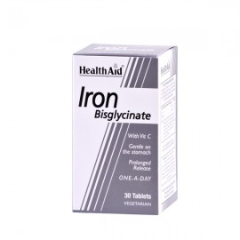 Health Aid Iron Bisglycinate with Vit.C. Σίδηρος Δισγλυκινικός 30tabs