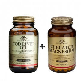 SOLGAR (Πακέτο) COD LIVER OIL 100softgels + Solgar Chelated Magnesium 100mg Χηλικό Μαγνήσιο 100 tabs