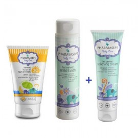 Pharmasept Baby Care ΠΑΚΕΤΟ Natural Sun Cream SPF30 Βρεφική Αντηλιακή Κρέμα για Πρόσωπο & Σώμα+ Tol Velvet Mild Bath 300ml+Tol Velvet Soothing Cream 150ml