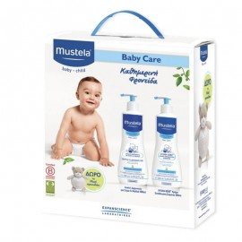 Mustela Baby Care Set με Gentle Cleansing Gel  500ml + Hydra-Bebe Body Lotion 500ml + Δώρο το Αρκουδάκι Musti 1τμχ