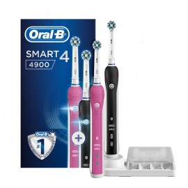 Oral-B Promo Smart 4 4900 CrossAction Duo Pack Black & Pink Special Edition Επαναφορτιζόμενη Ηλεκτρική Οδοντόβουρτσα 1+1