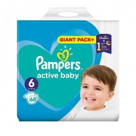 Pampers Active Baby No6 Giant (13-18 Kg) 68Τμχ