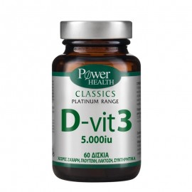 Power Health Classics Platinum Range D - Vit 3 5.000 IU Συμπλήρωμα Βιταμίνης D3 60TABS