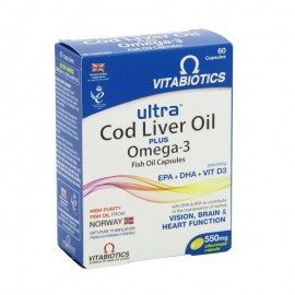 VITABIOTICS ULTRA 2 in 1 COD LIVER OIL Capsules 550mg 60caps