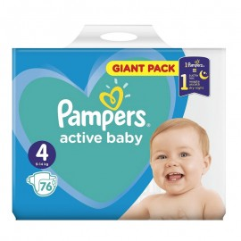 Pampers Active Baby No4 Giant (9-14 Kg) 76Τμχ